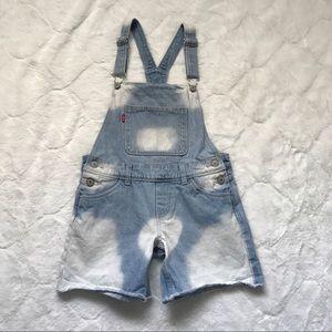 Levi's Girl's Bleached Denim Shortall Size 12 Reg